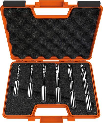 Set van 6 gespiraliseerde langgatboren, links