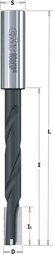 Spiraal langgatboor met spaanbrekers, rechts