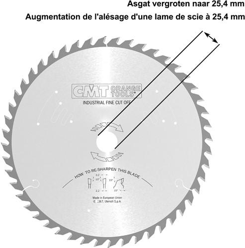 Asgat van een zaagblad vergroten naar 25,4mm