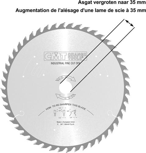 Asgat van een zaagblad vergroten naar 35mm