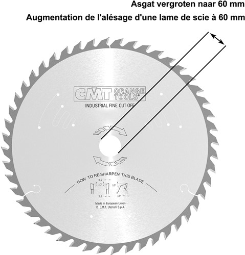 Asgat van een zaagblad vergroten naar 60mm