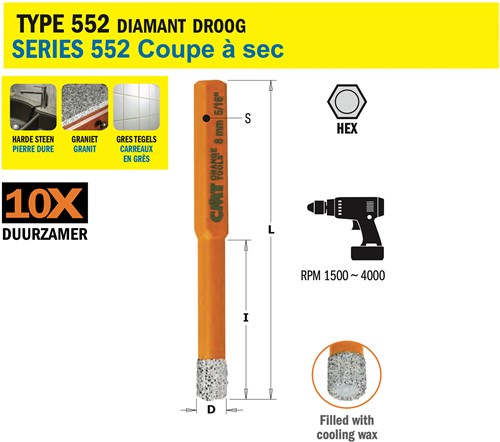 Gatzaag voor extreem harde materialen D=16mm